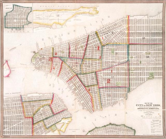 Map of the city of New York : with the adjacent cities of Brooklyn & Jersey City, & the village of Williamsburg