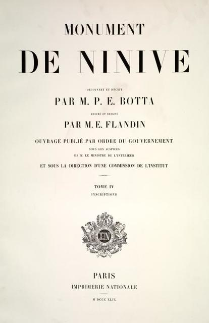 Monument de Ninive, ... Tome 4. Inscriptions. [Title page]
