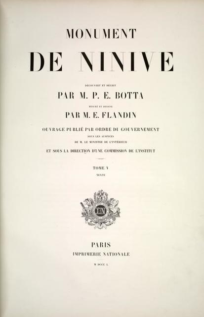 Monument de Ninive, ... Tome 5. Text. [Title page]