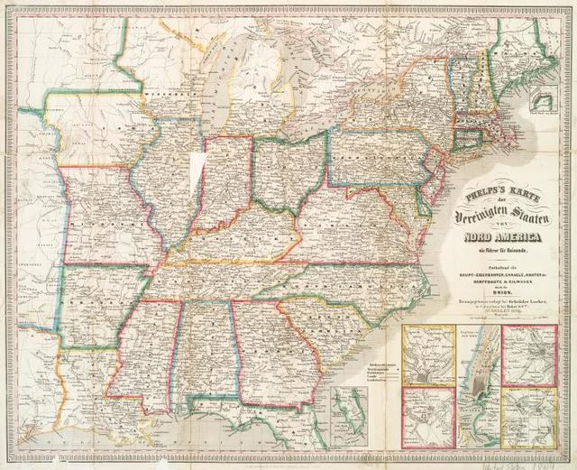 Phelps's Karte der Vereinigten Staaten von Nord America ein Führer für Reisende : enthaltend die Haupt-eisenbahnen, Canaele, Routen der Dampfboote & Eilwagen durch die Union