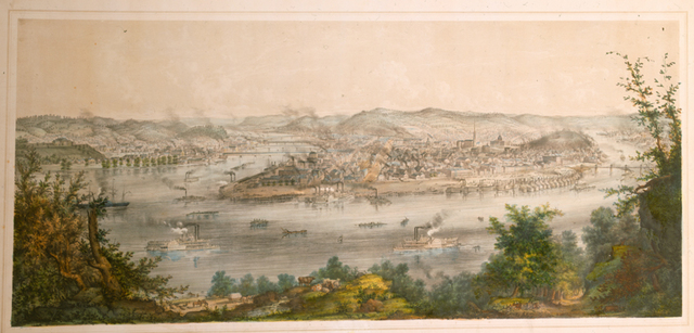 Pittsburgh and Allegheny, from Coal Hill, 1849.