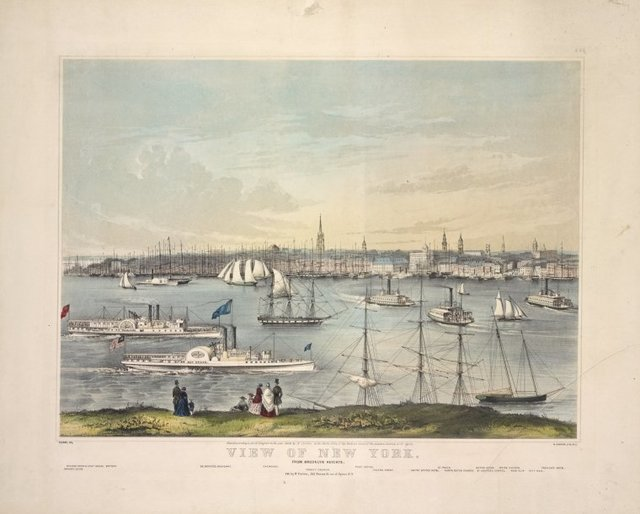 View of New York, from Brooklyn Heights. [Names, on 2 lines, of 16 buildings, etc.]
