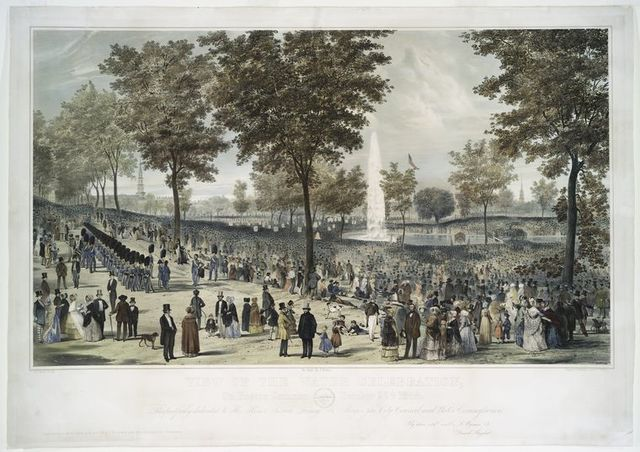 View of the water celebration, on Boston Common October 25th. 1848.