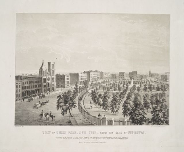 View of Union Park, New York, from the head of Broadway.