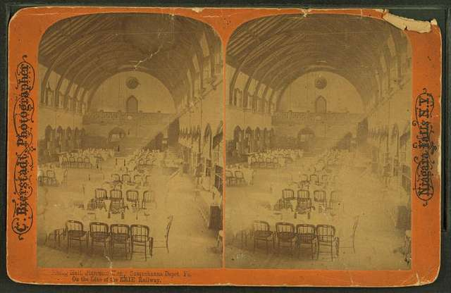 Dining Hall, Starrucca House. Susquehanna Depot, Pa. On the line of the Erie Railway.
