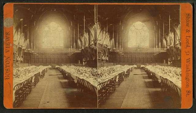 Dining room in Memorial Hall, Harvard College.