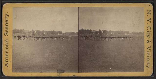 "Field Day, East N. Y. 37th reg. ""rest"" in column by company."
