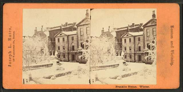 Franklin statue, winter.