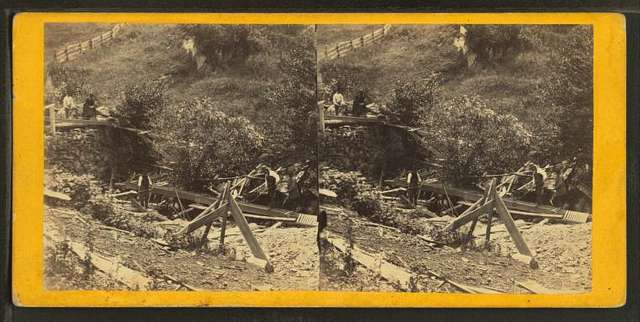 Gold digging at Smith's claim, Gold Miner's Glen, Plymouth, Vt.