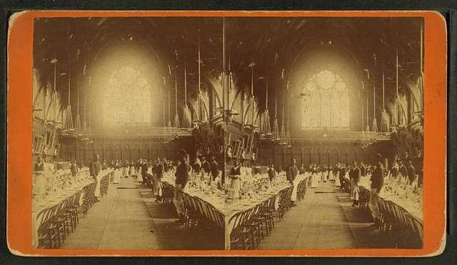 Interior view of Memorial Hall, Harvard College.