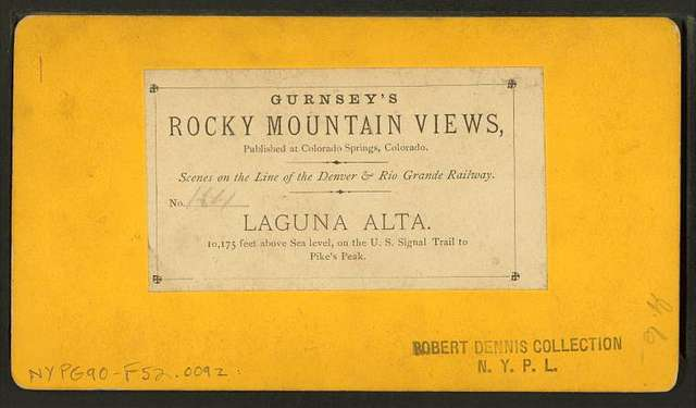 Laguna Alta. 10,175 feet above sea level, on the U.S. Signal Trail to Pike's Peak.
