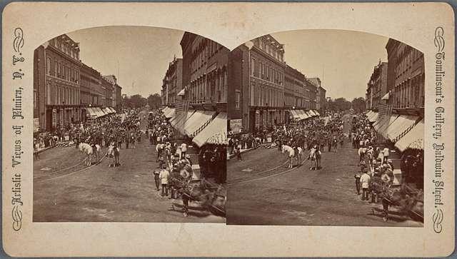 "Lake St., Negro procession celebrating ""Emancipation proclamation."""