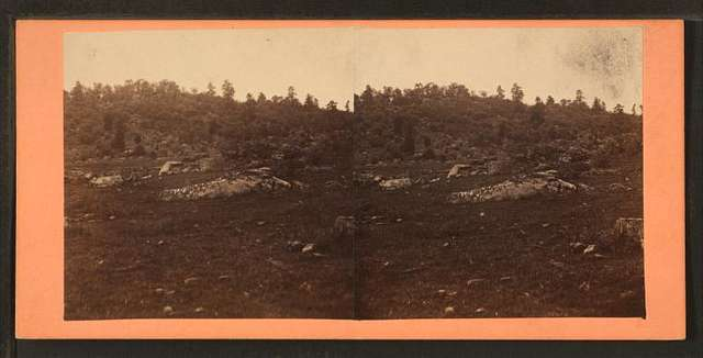 Little Round Top. Swamp and breastworks in foreground.