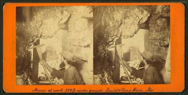 Miner at work, 350 ft. underground, Gould & Curry Mine, Nevada.