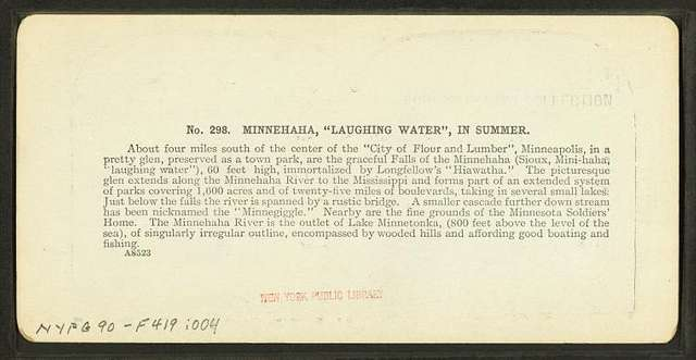 """Minnehaha, """"laughing water"""", in summer."""