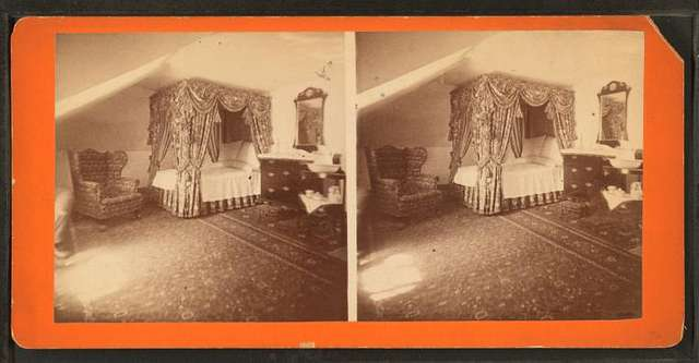 Mrs. Washington's bed-chamber where she died, (May, 1801). Mount Vernon mansion.
