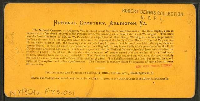 National cemetery, Arlington, Va.