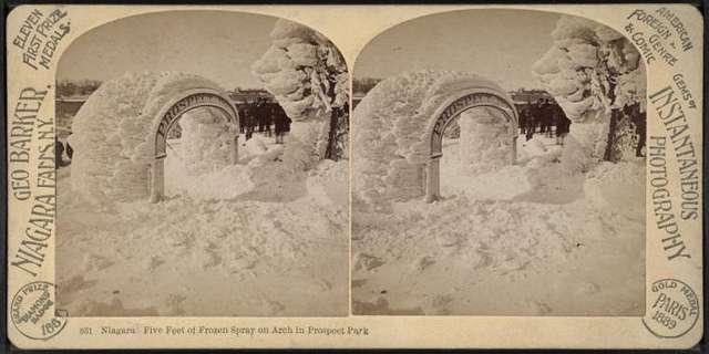 Niagara, five feet of frozen spray on arch in Prospect Park.