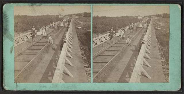 Portage Bridge, top of, looking toward Station.