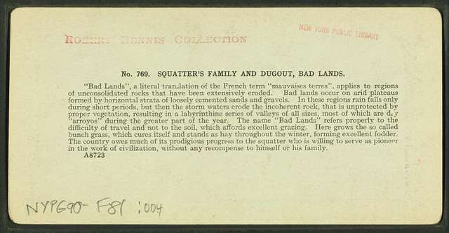 Squatter's family and dugout, Bad Lands [Badlands].