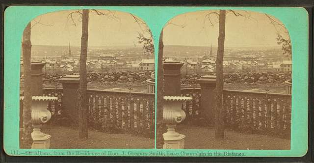 St. Albans, from the residence of Hon. J. Gregory Smith, Lake Champlain in the distance.