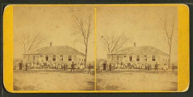 Students in front of the school house in North Brookfield.