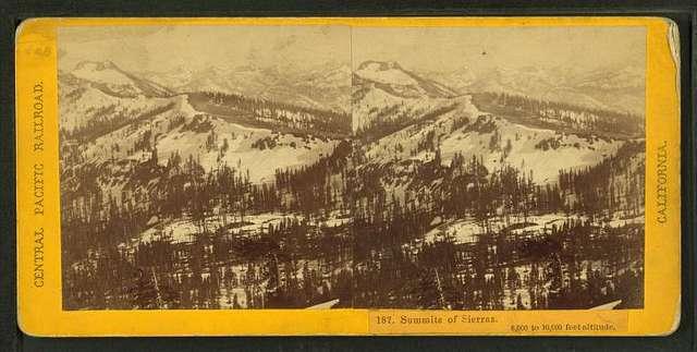 Summits of Sierras. 8,000 to 10,000 feet altitude.