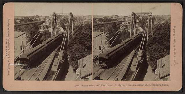Suspension and cantilever bridges, from American side, Niagara Falls.
