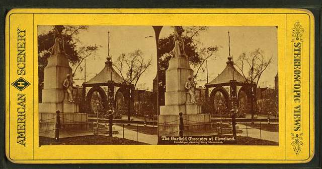 The Garfield Obsequies at Cleveland, catafalque, showing Perry Monument.