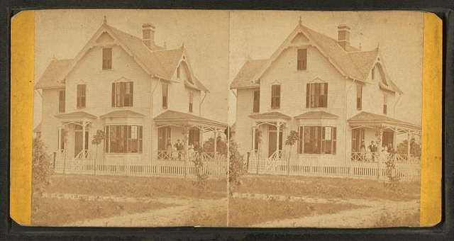 """The Rectory. [Showing a group of adults and children on the porch of """"Rectory""""]"""