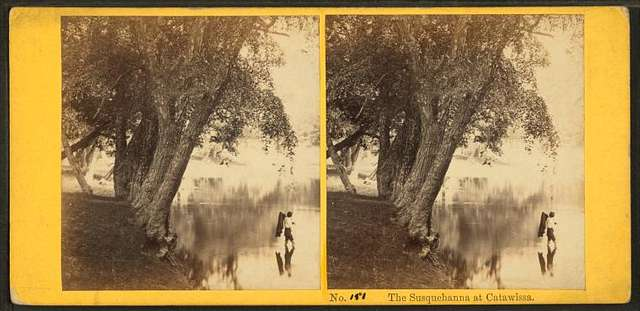 The Susquehanna at Catawissa. [Man wading near the banks of the river.]