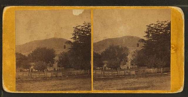 View of a log house in Bennington, Vt.