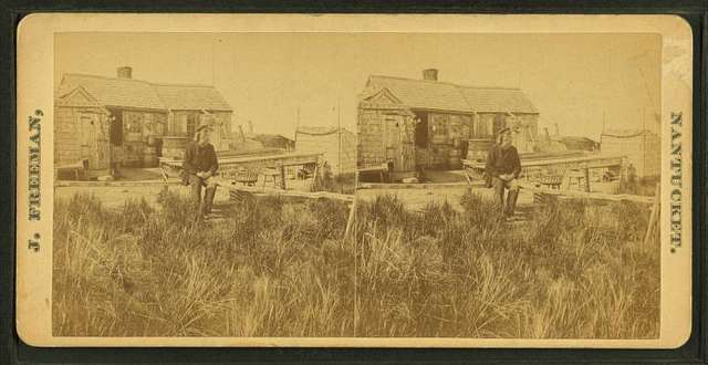 View of the Hermit (Fred Parker?) in front of his house.