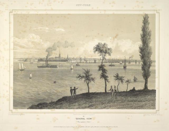 General view (From Governor's Island) Above, over border: New-York