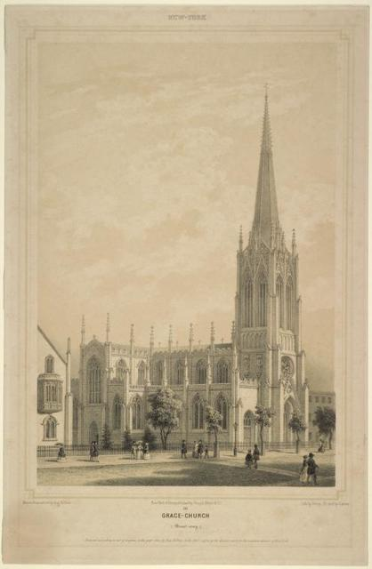 Grace-Church (Broadway). Above, over border line: New York