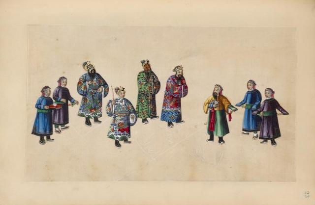 Large group, two figures wearing masks.
