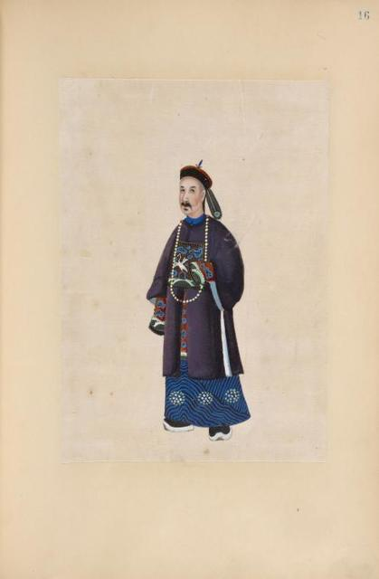 [Man wearing long beaded necklace and tunic with design of large white bird.]