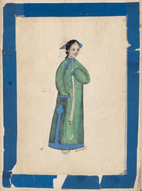 Mandarins and their Ladies. [Woman in green robe.]