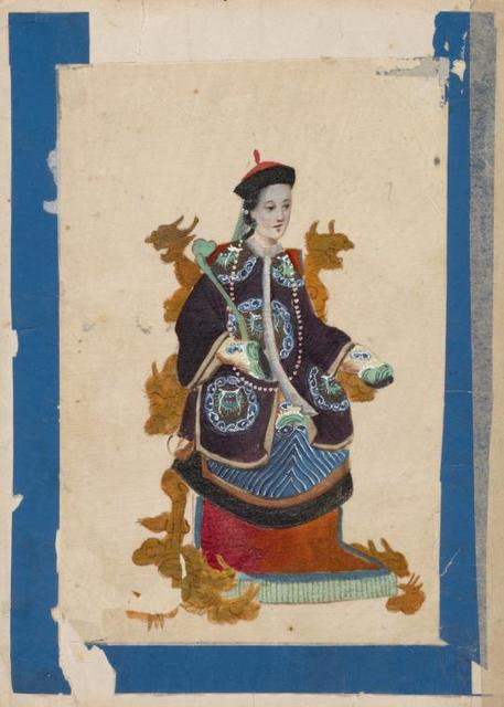 Mandarins and their Ladies. [Woman sitting on a throne wearing purple tunic with cloud pattern.]