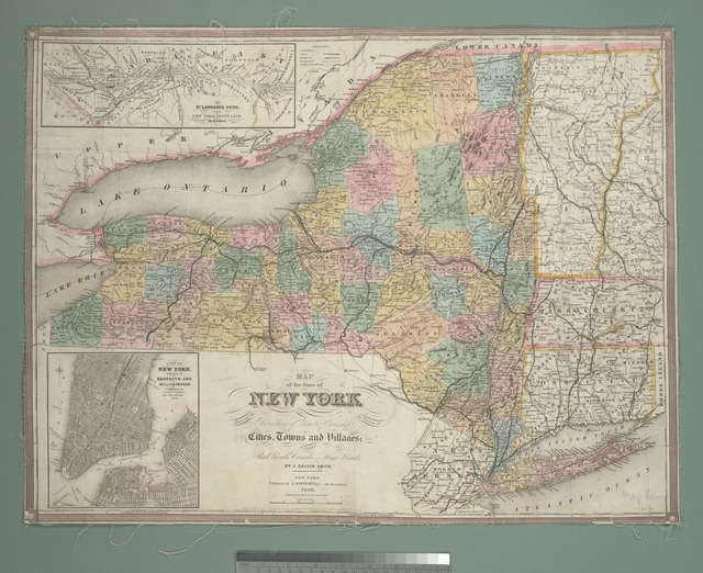 Map of the state of New York : showing the boundaries of counties & townships, the location of cities, towns and villages, the courses of rail roads, canals & stage roads