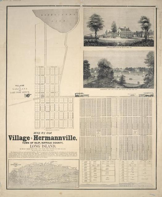 Map of the village of Hermannville, Town of Islip, Suffolk county, Long Island : 50 miles from New-York, and near the centre of the island.