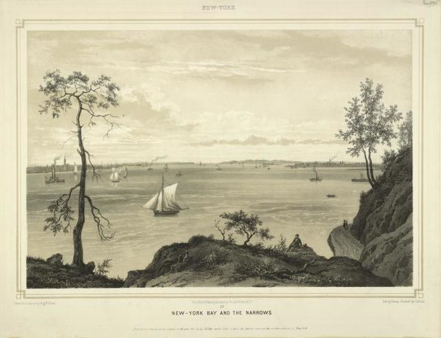 New-York Bay and The Narrows. Above: New-York