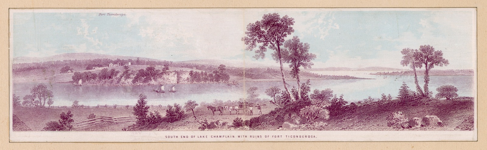 South end of Lake Champlain with ruins of Fort Ticonderoga.