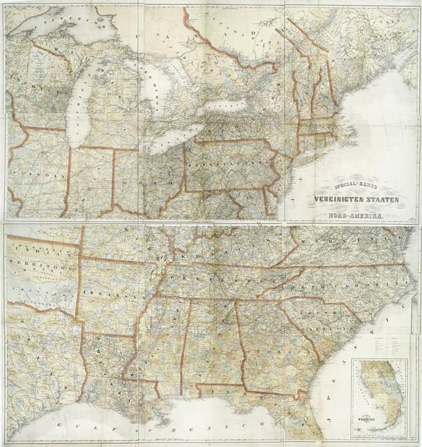 Special Karte Der Vereinicten Staaten Von Nord Amerika New York