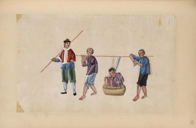 Two men carry a man in a basket.