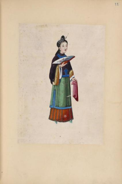 Woman holding a fan and a cloth.