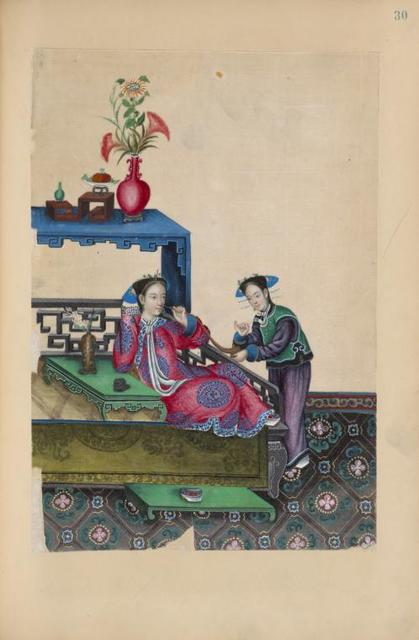 Woman reclining on large platform next to low table, smoking pipe; young girl attending her.