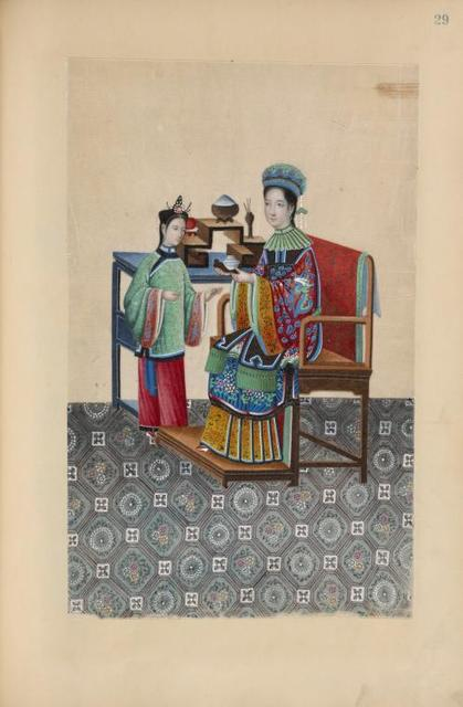 Woman sitting on a chair next to table, offering small dish to girl.