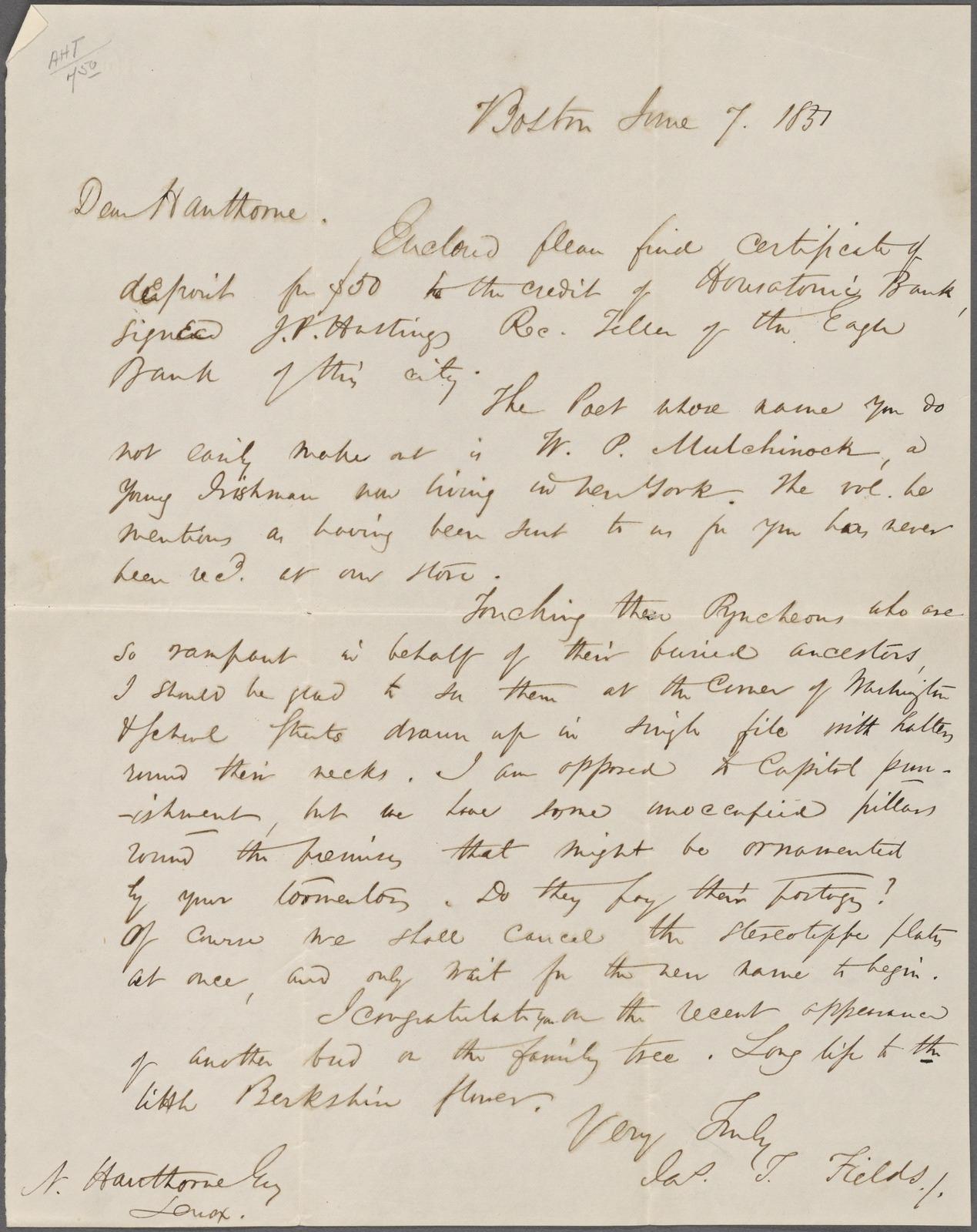 Fields, J. T., ALS, to NH. Jun. 7, 1851.