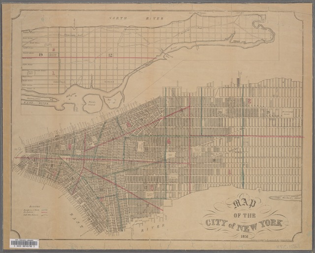 Map of the City of New York, 1851 / engraved for D.T. Valentine's Manual for 1851 by G. Hayward, 120 Water St.